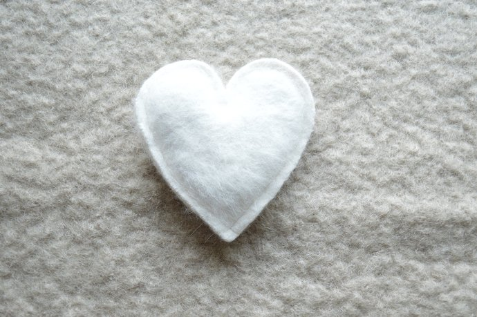One Lavender Filled Heart Sachet - White Angora
