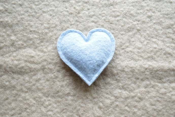 One Lavender Filled Heart Sachet - Sky Blue Wool