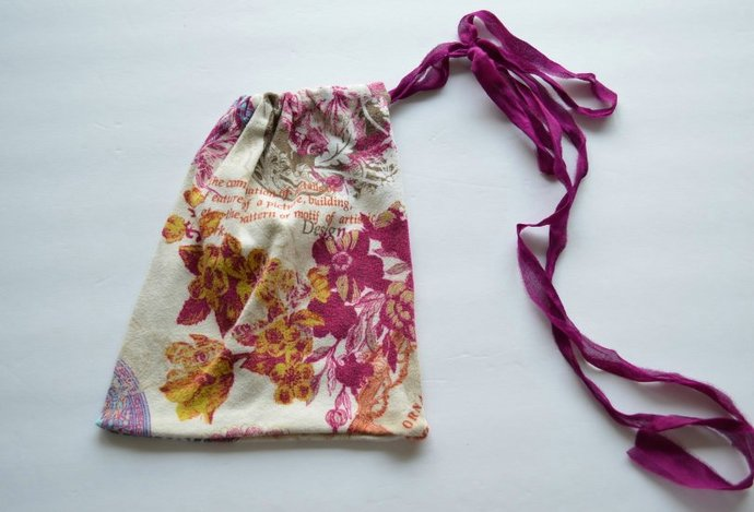 Upcycled Drawstring Bag Pouch - Cream with Multicolored Floral Designs
