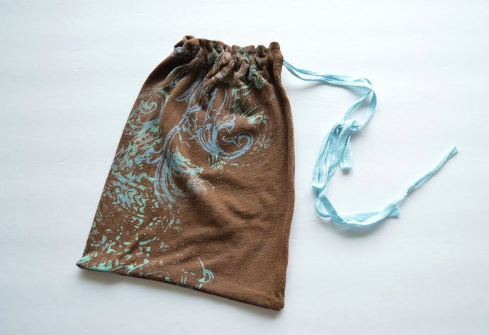 Upcycled Drawstring Bag Pouch - Brown with Candy Colored Swirls