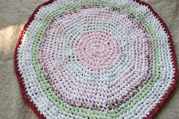 Handmade Crochet Rag Rug - Burgundy, Pinks & Mint