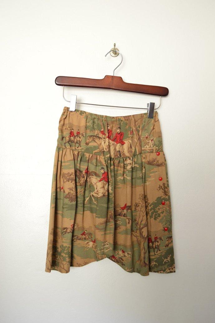 Childrens Girls Equestrian Scene Rayon Wool Blend Skirt, Elastic Waist Size
