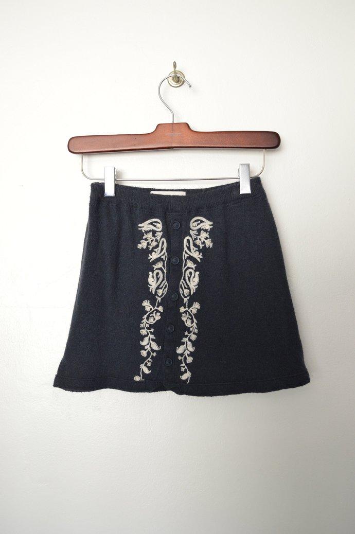 Childrens Girls Dark Blue Rayon Wool Blend Skirt, Button Front, Elastic Waist,