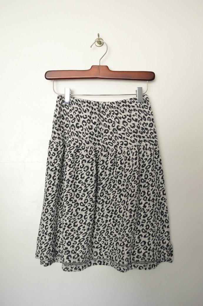 Childrens Girls White & Black Metallic Leopard Print Cotton Skirt, Elastic Waist