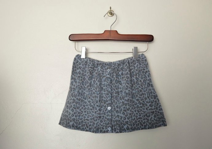 Childrens Girls Light Blue Leopard Print Cashmere Skirt, Button Front, Elastic