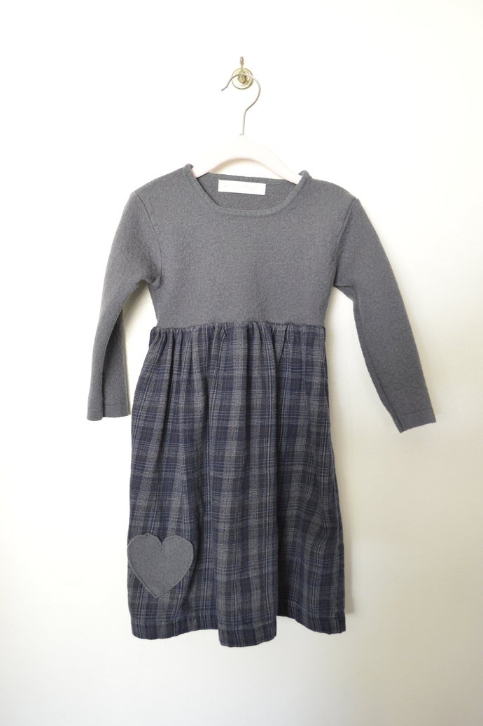Girls Grey Wool & Blue and Grey Flannel Sweater Dress, Wool Heart Applique,