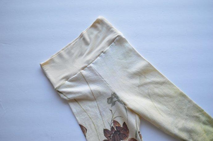 Babies Infants Cotton Leggings Pants, Yoga Waistband, Nature Print Size 18