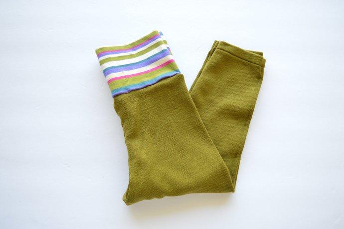 SALE - Was 24.00 - Babies Infants Chartreuse Green Leggings Pants, Yoga