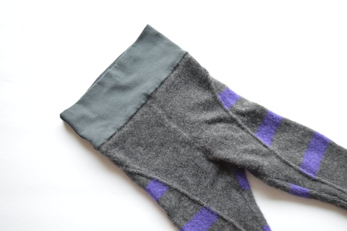 Babies Infants Grey Purple Striped Leggings Pants, Yoga Waistband, 100% Cashmere