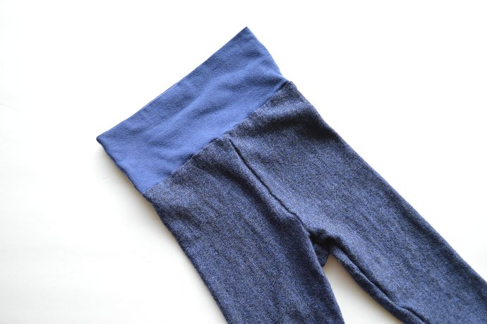 Babies Infants Blue Leggings Pants, Yoga Waistband, 100% Merino Wool Size 12