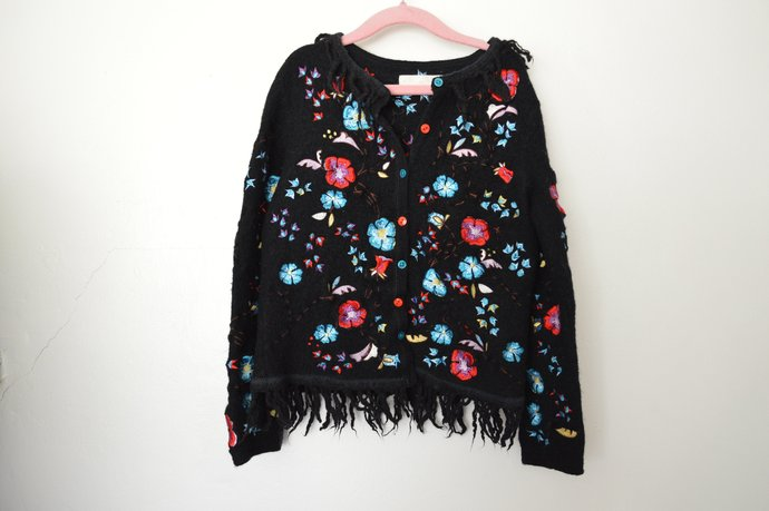 Childs Girls Black Wool Jacket Coat, Button Front, Embroidered Flower Details,