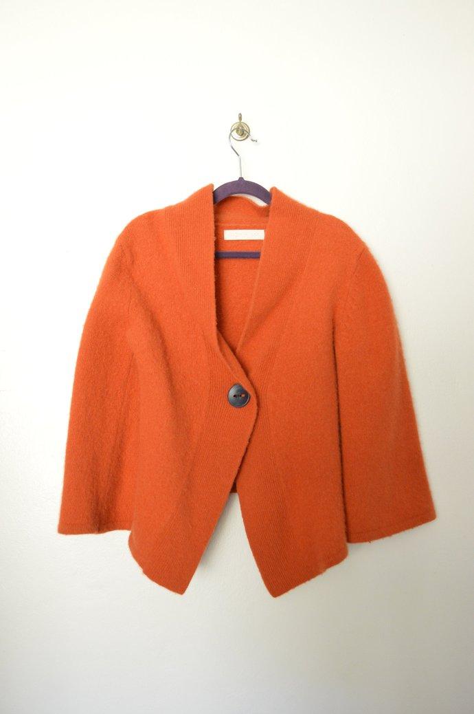 Childs Unisex Pumpkin Orange Wool Angora Blend Jacket Coat, Button Front,