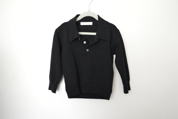 Babies Toddlers Black Merino Wool Pullover Sweater, Has Collar with Heart