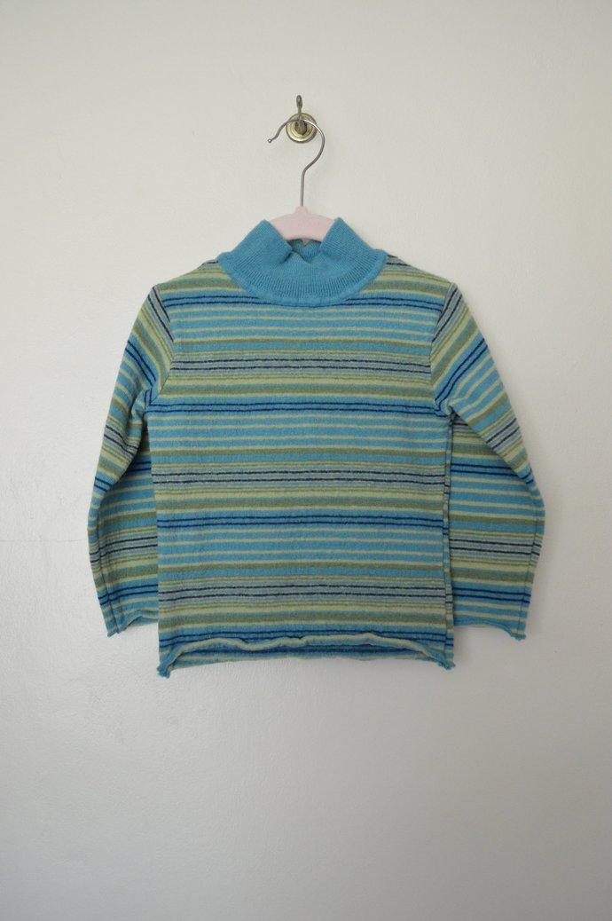 Babies Infants Blue Green Striped Mock Turtle Neck Merino Wool Pullover Sweater