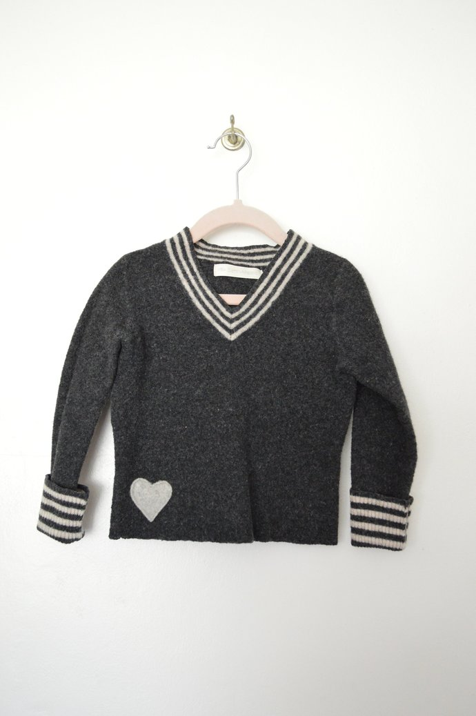 Babies Toddlers Dark Grey w/ White Stripes V-Neck Merino Wool Pullover Sweater,