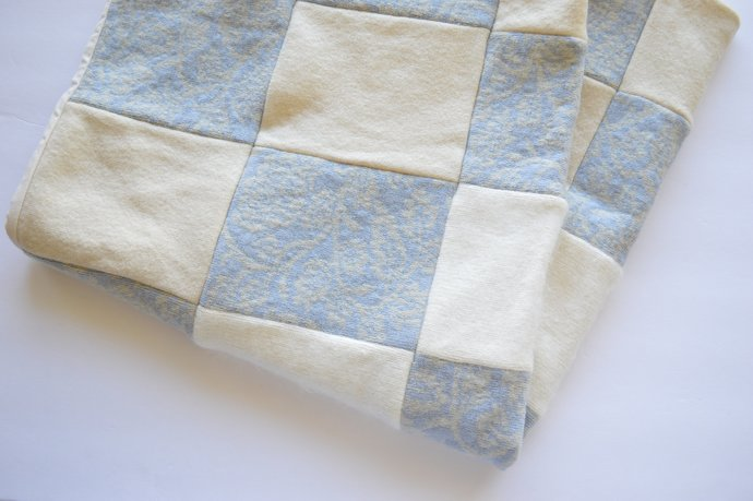 Patchwork Baby Lap Blanket - Wool & Angora, Creams, White, Light Blue, Lavender