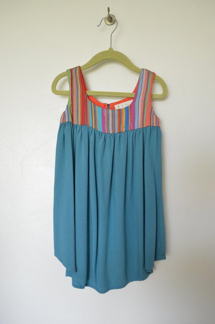 Girls Circus Stripe Silk & Blue Rayon Dress, Vintage Look, Sleeveless, Raised