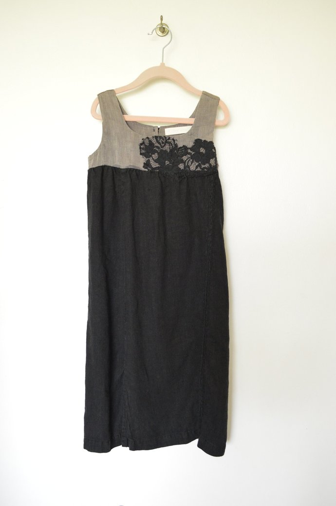 Girls Grey & Charcoal Black Hemp Silk and Linen Dress, Vintage Look, Sleeveless,