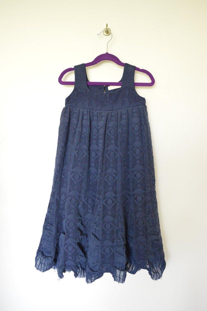 Girls Dark Blue Linen & Cotton Lace Dress, Vintage Look, Sleeveless, Raised