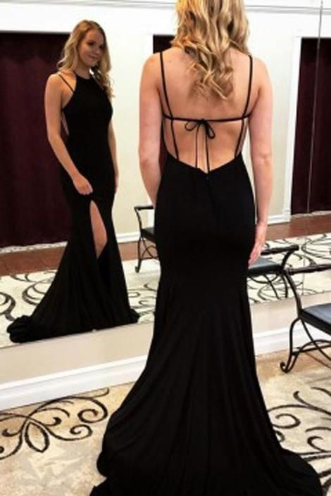 012cc4f631 Sexy Black Long Prom Dress with Slit