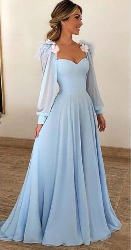 cec6bc978556 Light Blue Prom Dress,Long Sleeves Prom Dresses,Sweetheart Prom Dress,A Line