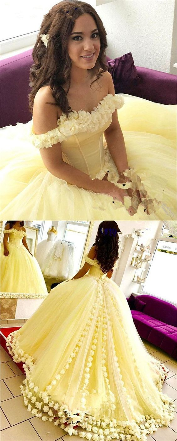 508037a825b Yellow Tulle Flower Wedding Dresses Ball Gowns Quinceanera Dresses Off The