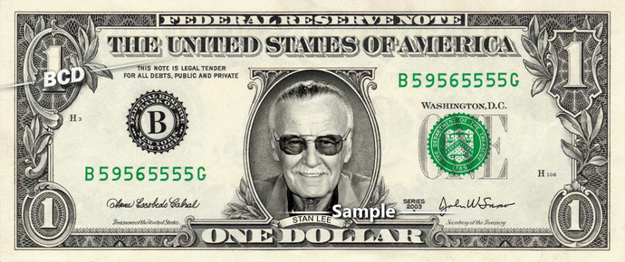 STAN LEE on a REAL Dollar Bill Cash Money Collectible Memorabilia Celebrity