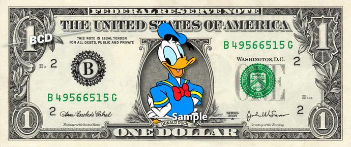 DONALD DUCK on a REAL Dollar Bill Disney Money Cash Collectible Memorabilia
