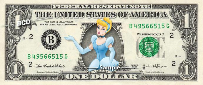 CINDERELLA on a REAL Dollar Bill Disney Money Cash Collectible Memorabilia