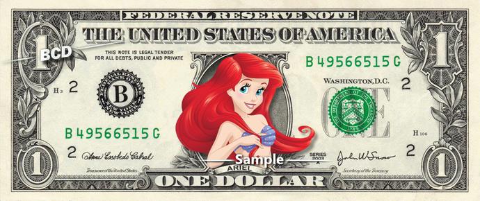 ARIEL on a REAL Dollar Bill Disney Money Cash Collectible Memorabilia Celebrity