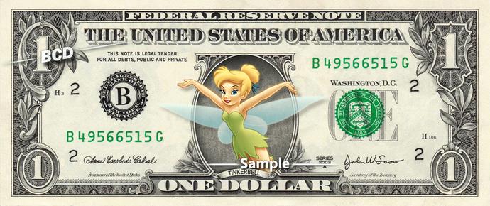 TINKERBELL on a REAL Dollar Bill Disney Money Cash Collectible Memorabilia