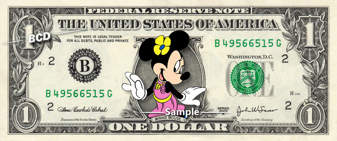 MINNIE MOUSE on a REAL Dollar Bill Disney Money Cash Collectible Memorabilia