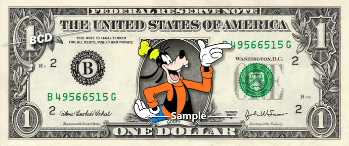 GOOFY on a REAL Dollar Bill Disney Money Cash Collectible Memorabilia Celebrity