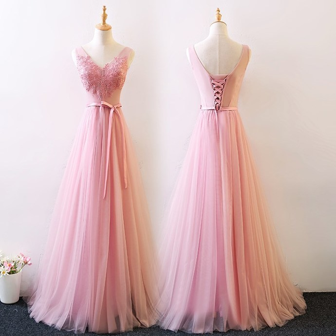 Pink Wedding Party Dress, Lovely Tulle and Lace Formal Dress