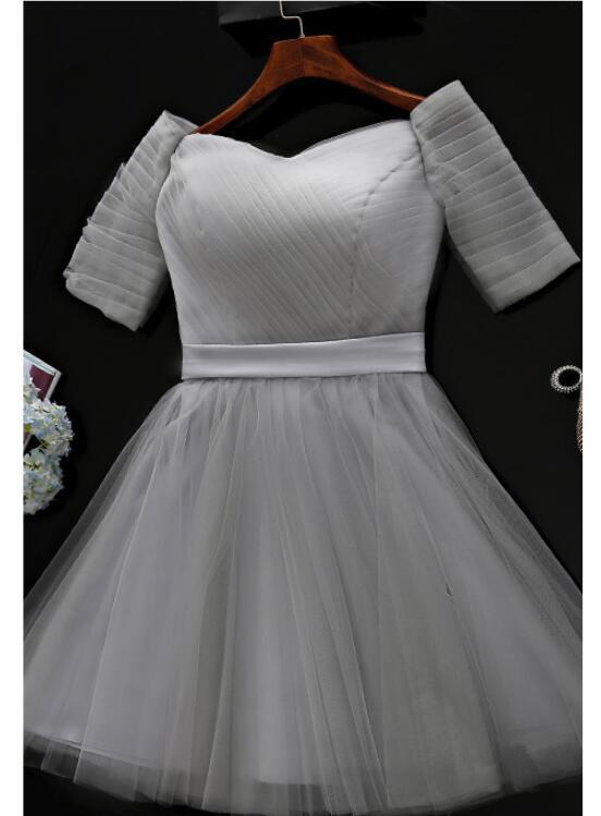 Grey Tulle Short Sleeves Party Dress, Teen Formal Dress 2019