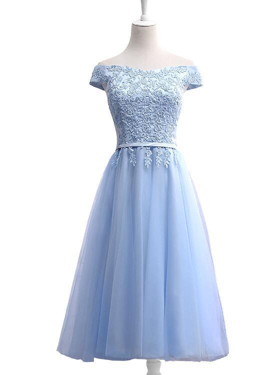 Blue Tea Length Bridesmaid Dress, Cute Party Dress 2019, Formal Dress