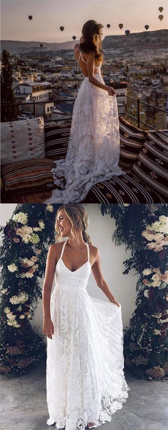 Sexy A-Line Straps Backless Court Train Lace Beach Long Wedding Dresses