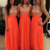Long Cheap Bridesmaid Dresses Orange Chiffon Beaded Formal Dresses