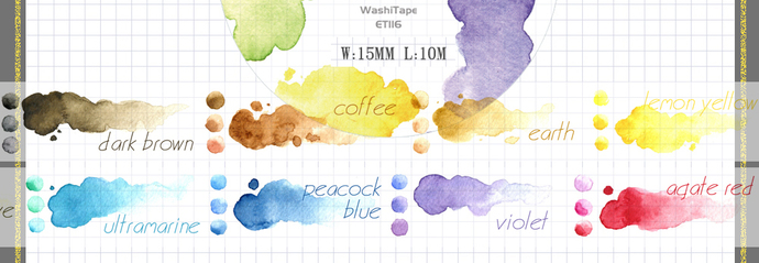 1 Roll Limited Edition Washi Tape: Watercolors' color chart
