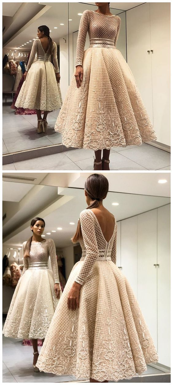 f0ab2bf4a084 Scoop Long Sleeve Prom Dress Tea Length Lace Prom Dresses Evening Dress