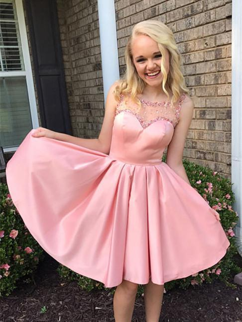 Beaded Pink Short Prom Dresses Cheap Plus Size Cute Homecoming Dresses
