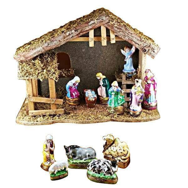 Nativity in Stable Baby Jesus Limoges Boxes Hand-crafted & Hand-painted by