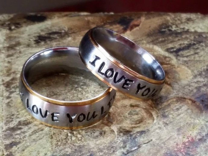 I LOVE YOU Personalized Silver hand stamped name steel Rings customized engraved