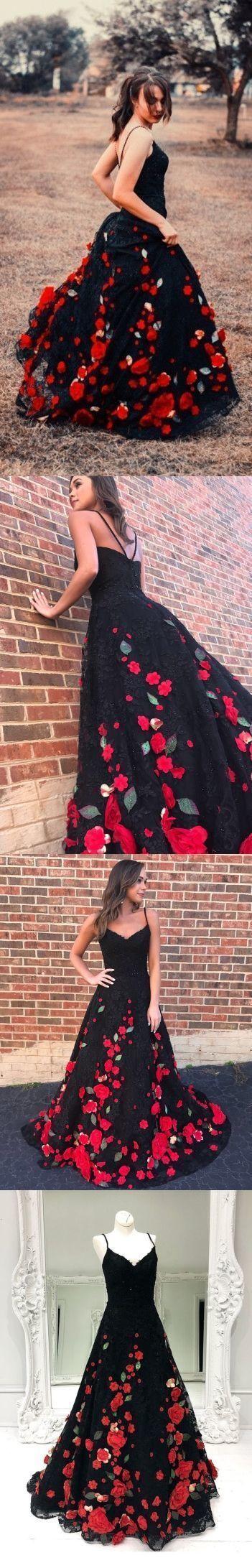 4f3c92a1c679f Black Prom Dresses Spaghetti Straps Red Flowers Long Prom Dress Sexy Evening