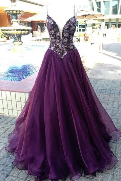 Unique v neck purple beads tulle long prom dress, evening dress,Sexy Party