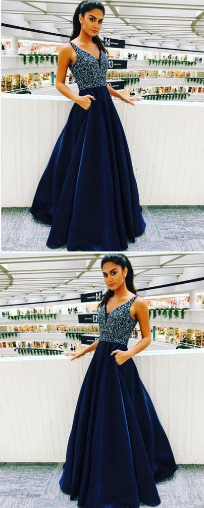 Blue v neck satin long prom dress, blue evening dress,Sexy Party Dress,Formal
