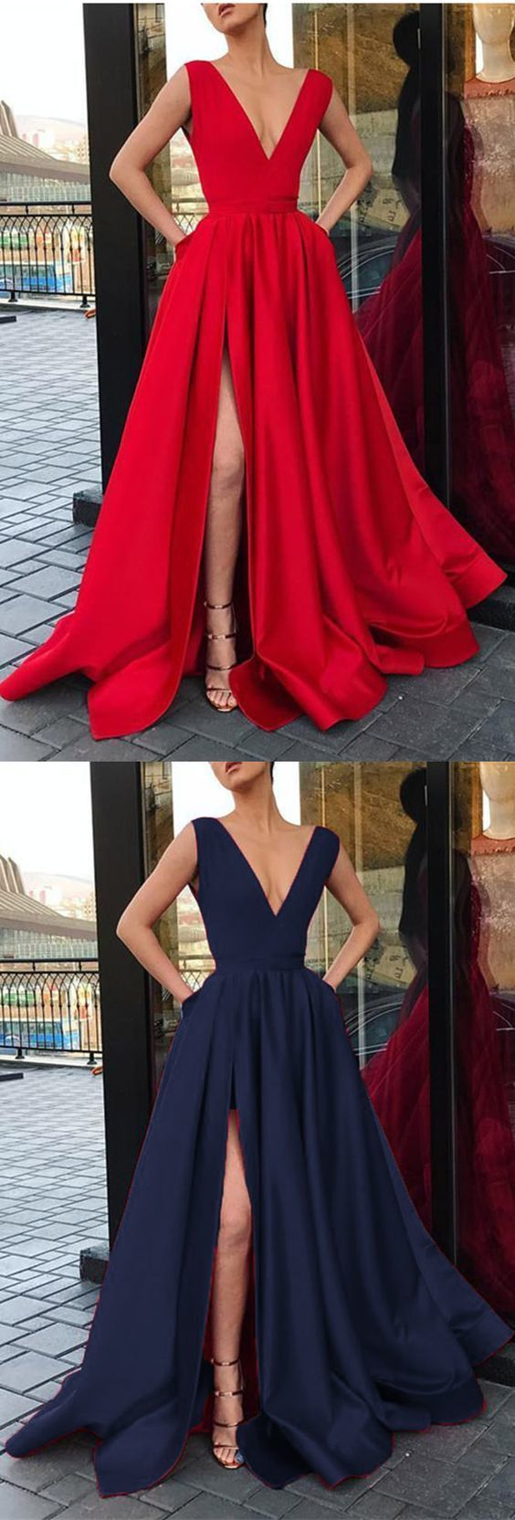 Elegant V neck Long Evening Party Dresses with Slit,Sexy Party Dress,Formal