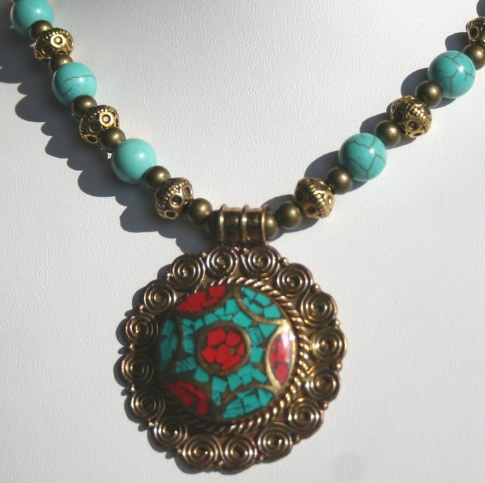 Tibetan Nepalese Pendant Statement Necklace, Tribal Handmade Indonesia Pendant,