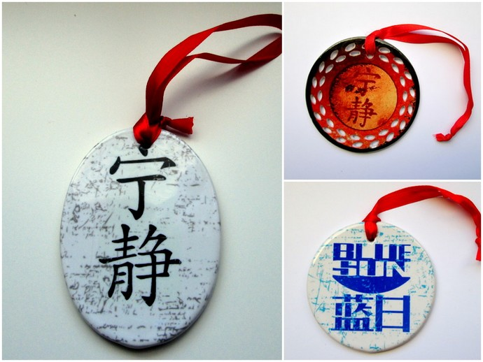 Ceramic Porcelain Ornaments -  Set of Three - Blue Sun & Serenity - Christmas