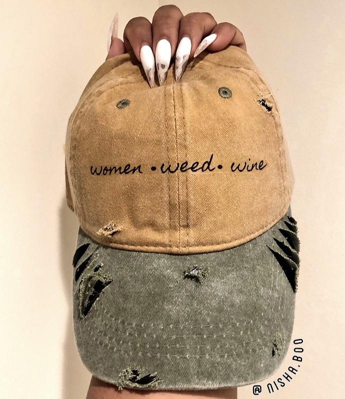 Women Weed Wine Baseball Cap